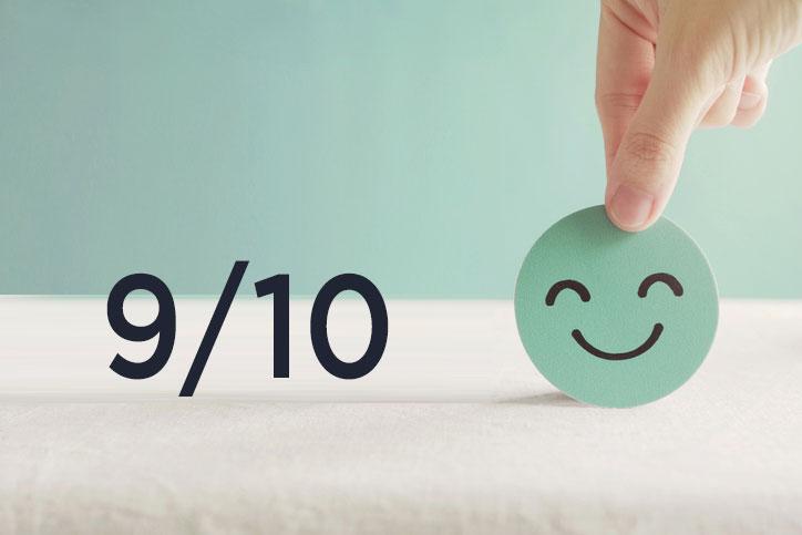 La satisfaction client dépasse la cote de 9/10